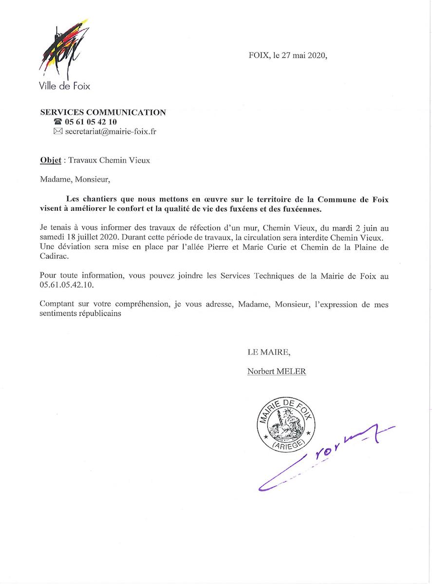 Presse : Lettres Travaux Chemin Vieux