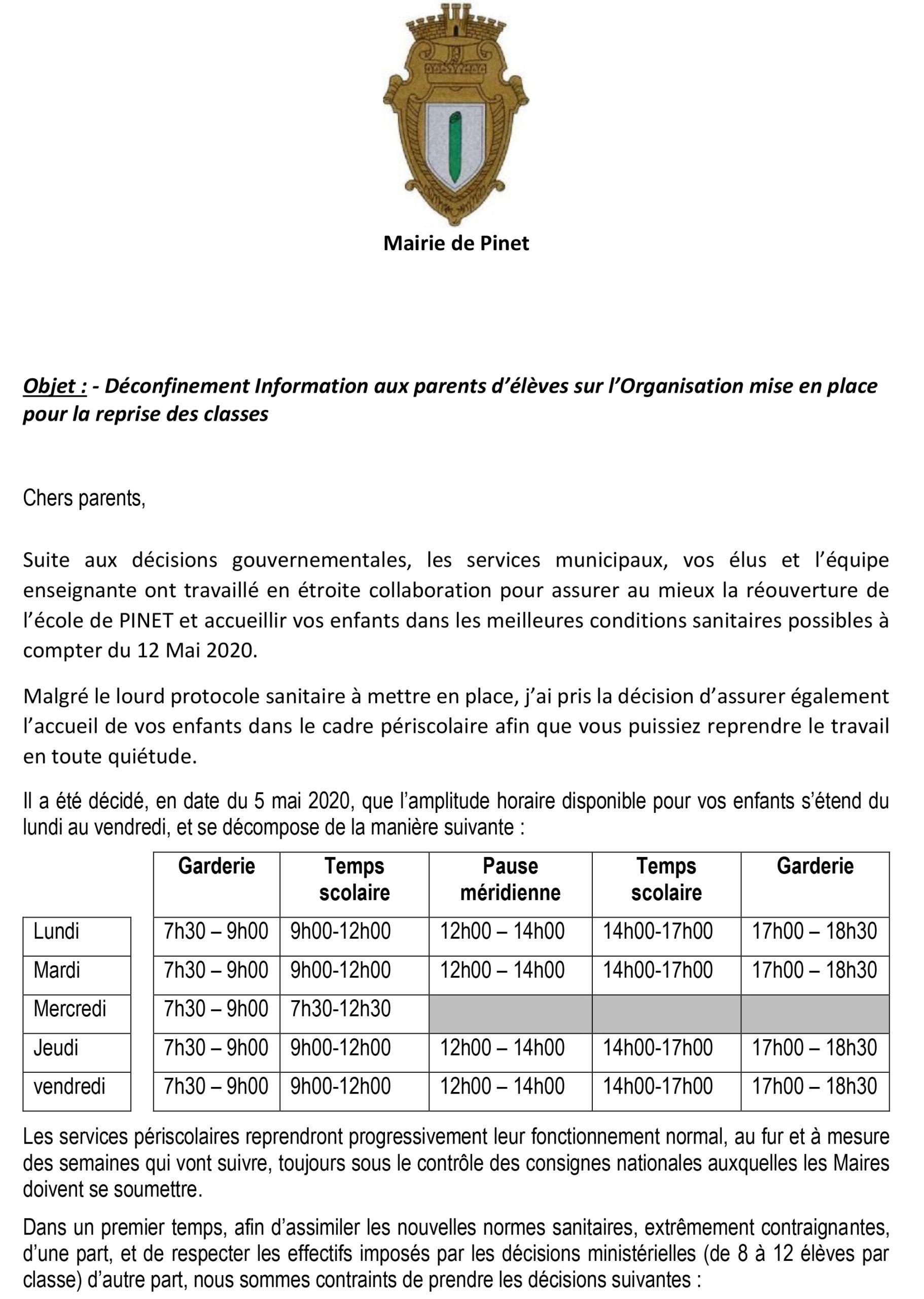 Déconfinement Information aux parents d'élèves sur l'Organisation mise en place pour la reprise des classes
