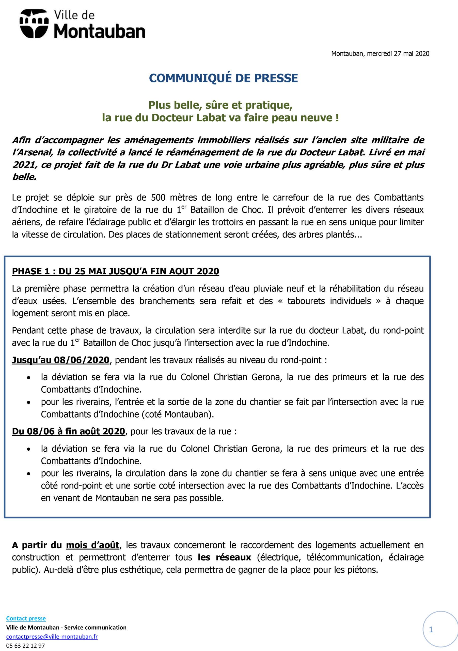 CP – Travaux rue Dr Labat