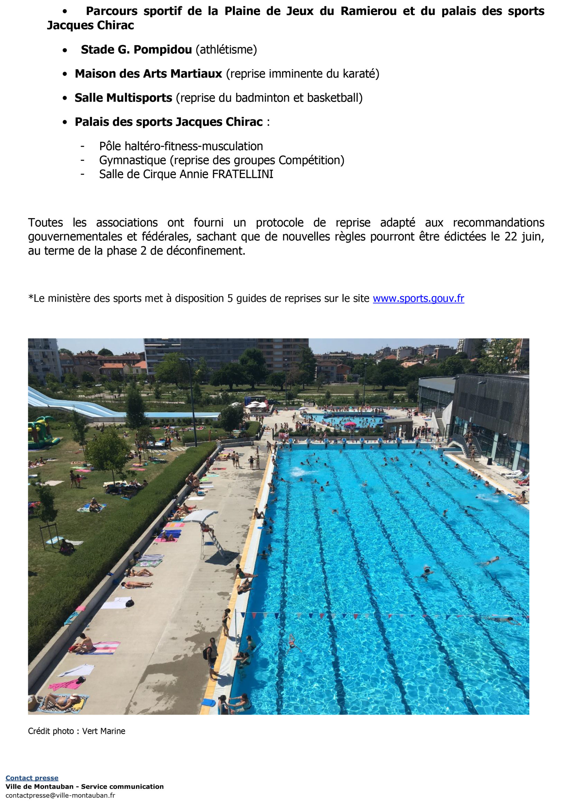 CP – Reouverture equipements sportifs