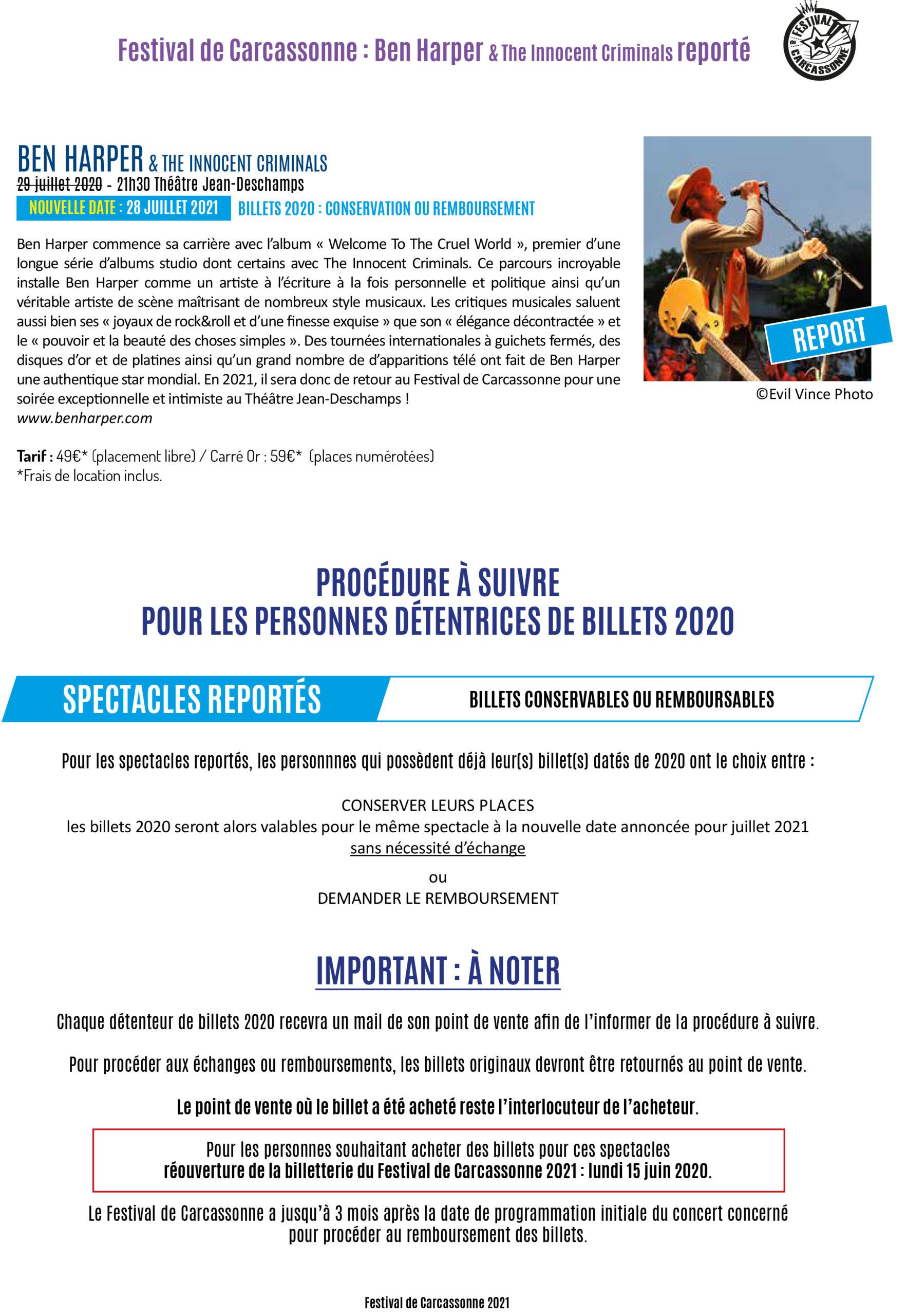 CP : Ben Harper & The Innocent Criminals reporté au Festival de Carcassonne 2021