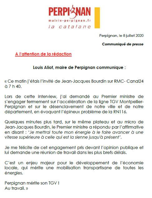 CP – Louis Aliot, maire de Perpignan communique