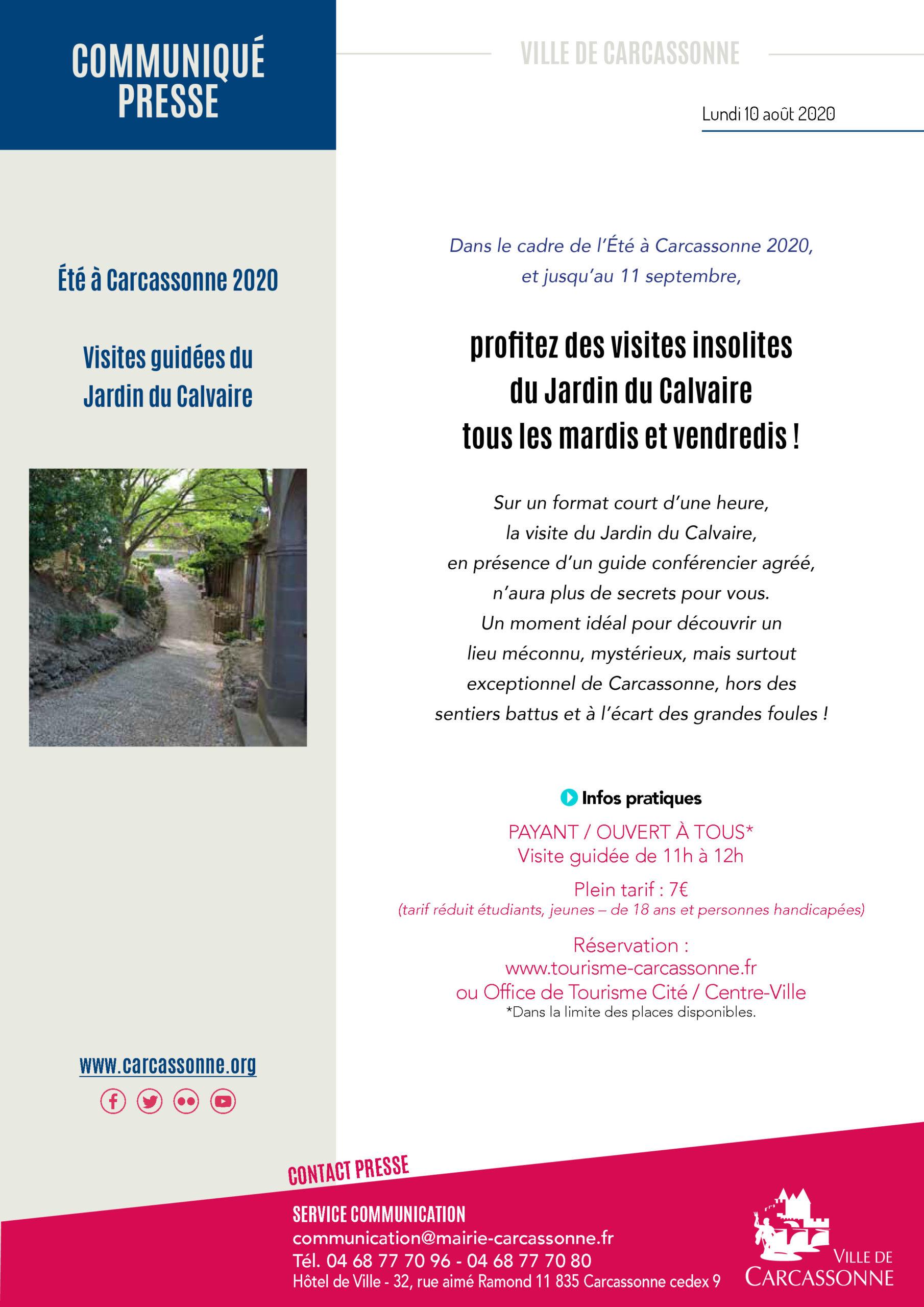 INFO PRESSE / Visites guidées du Jardin du Calvaire à Carcassonne