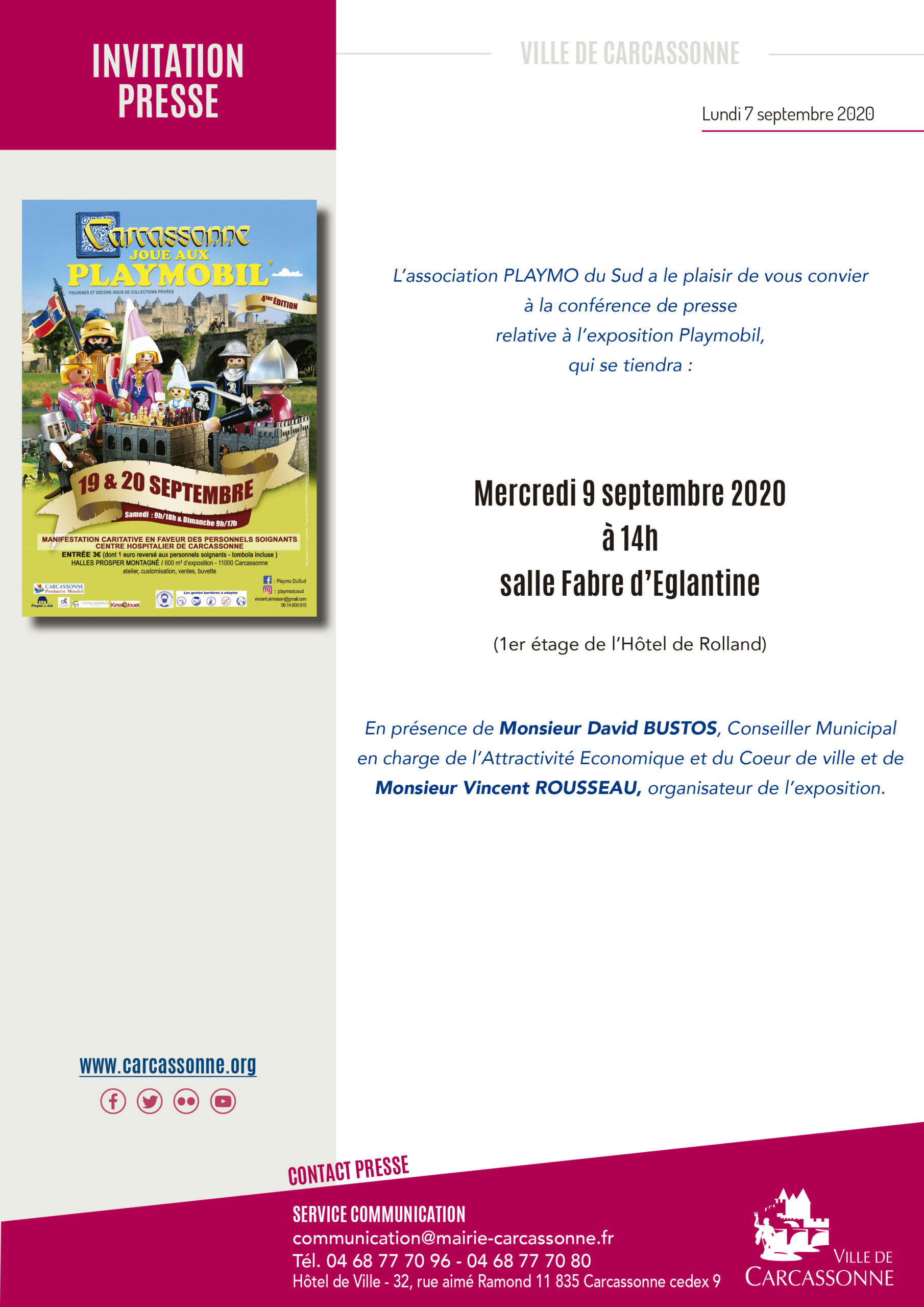 Invitation presse exposition Playmobil