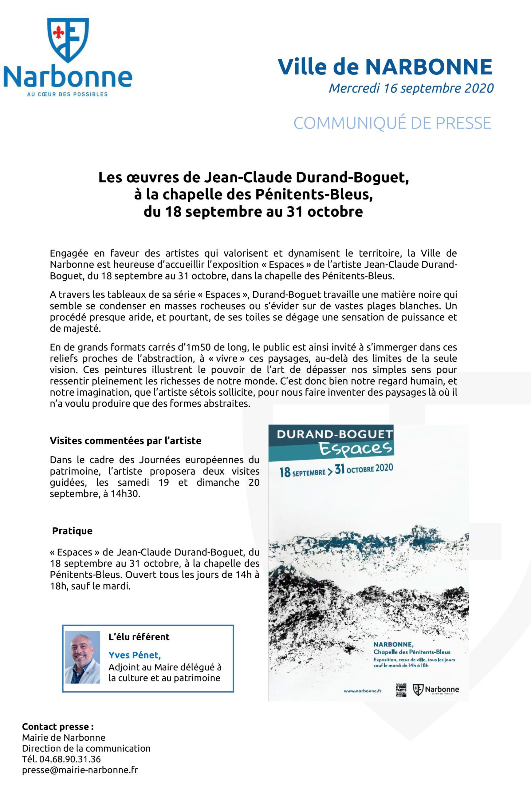 Communiqué: nouvelle exposition aux Pénitents-Bleus