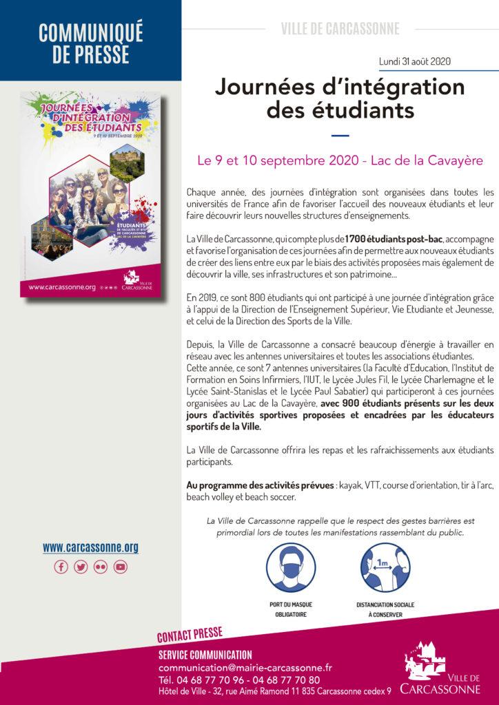 Communiqué de presse Journée d'intégration des étudiants