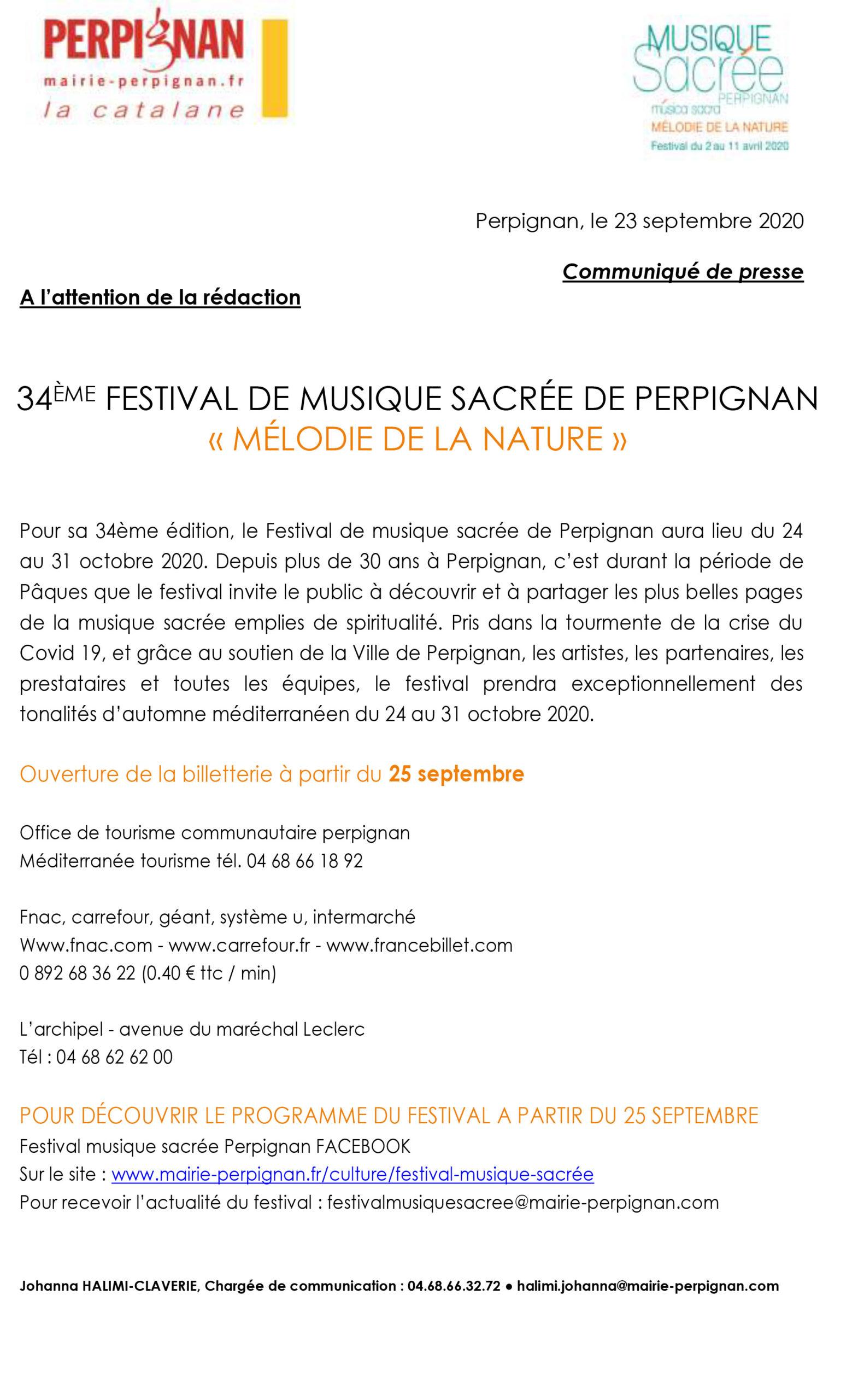 CP – Billetterie du Festival de Musique Sacrée de Perpignan