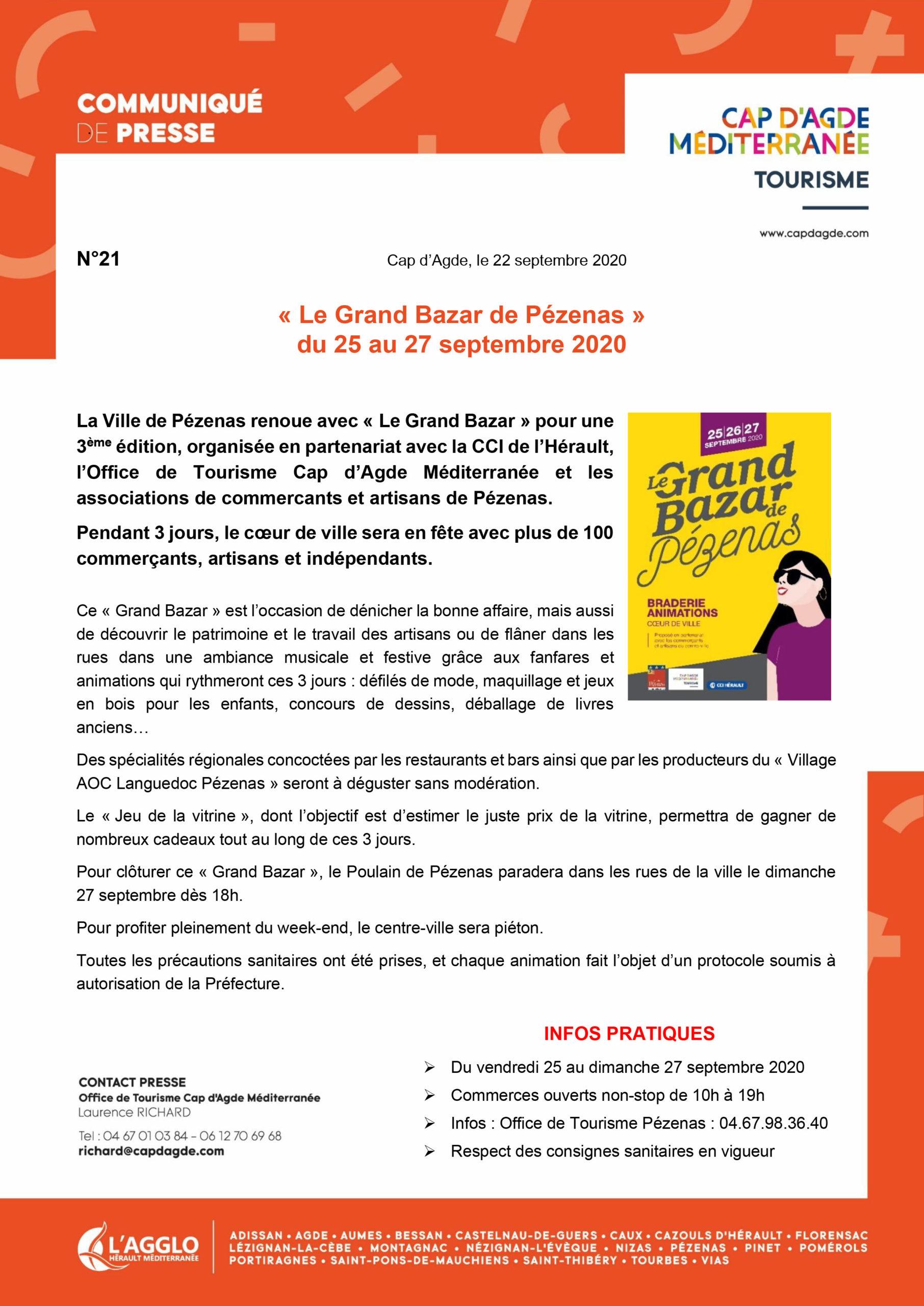 communiqué de presse intitulé « 'Grand Bazar de Pézenas' du 25 au 27 septembre 2020 »