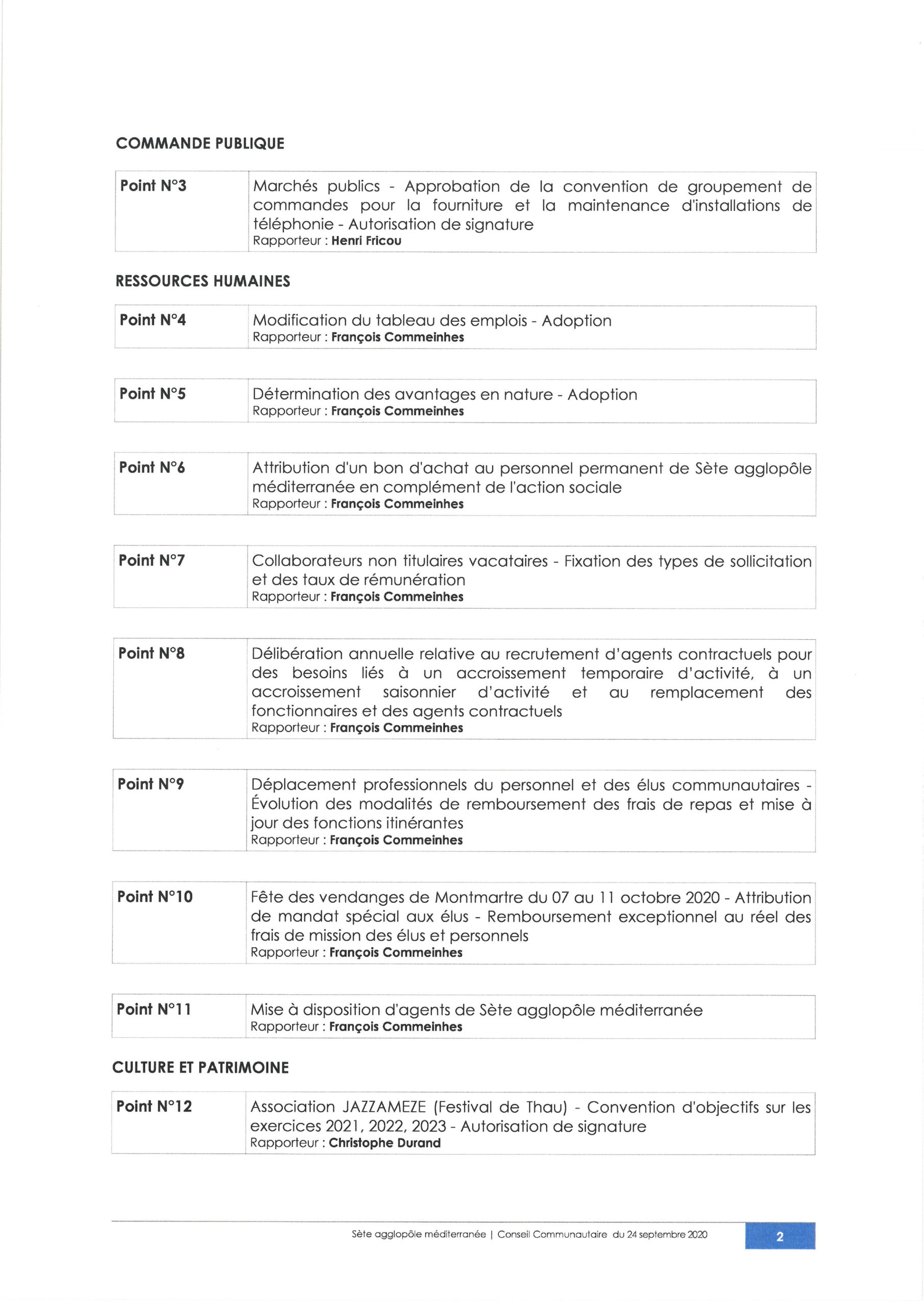 Conseil Communautaire – jeudi 24 septembre à Bouzigues – Espace Fringadelle- 18h