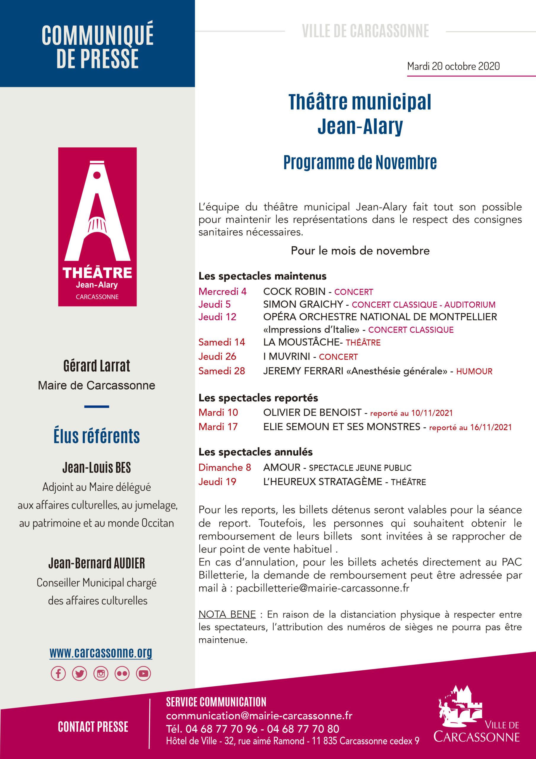 Communiqué de PRESSE : Théâtre Jean-Alary / Programme de novembre