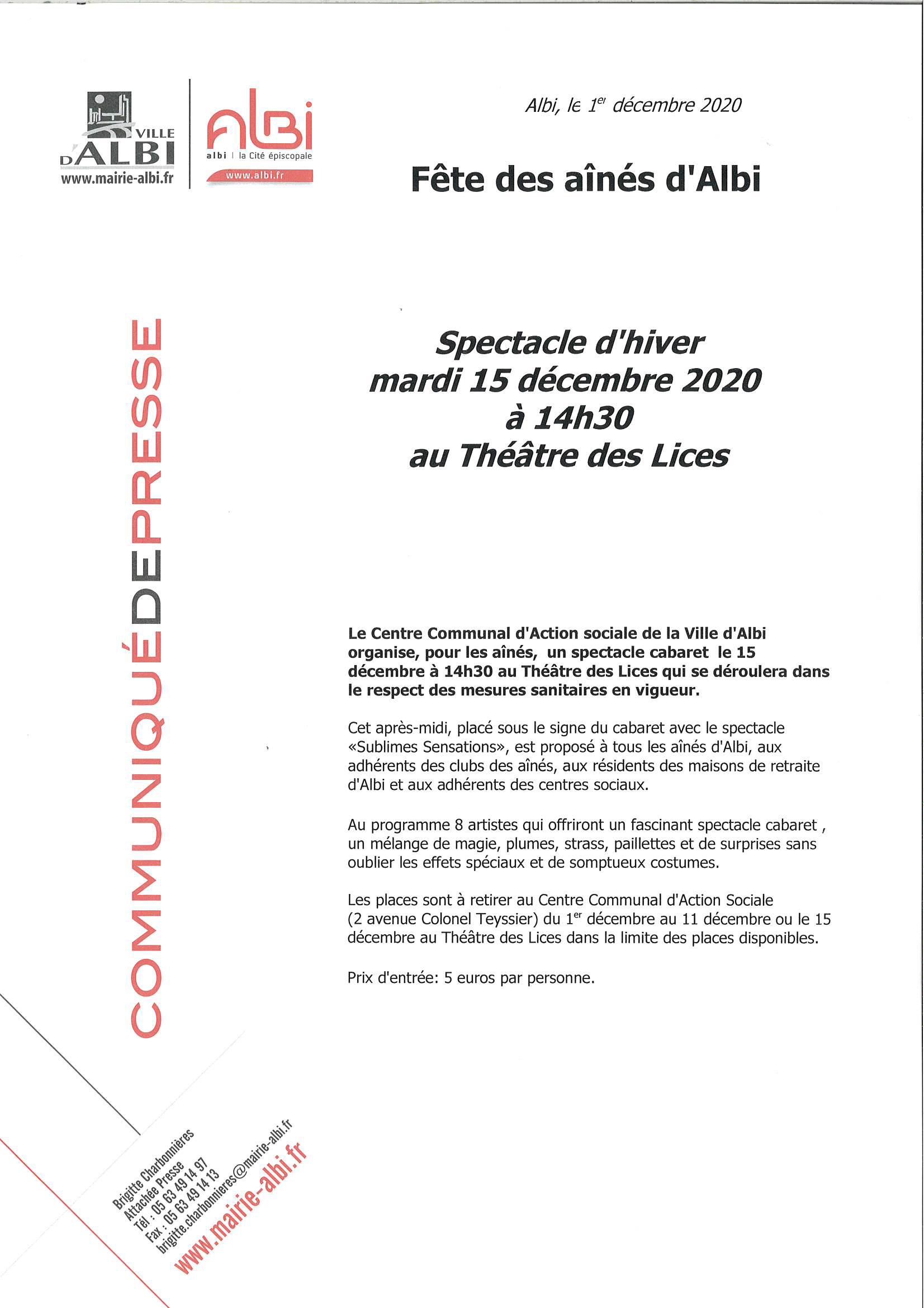 communiqué de presse : Fête des Aînés 15 décembre 2020 au Théâtre des Lices