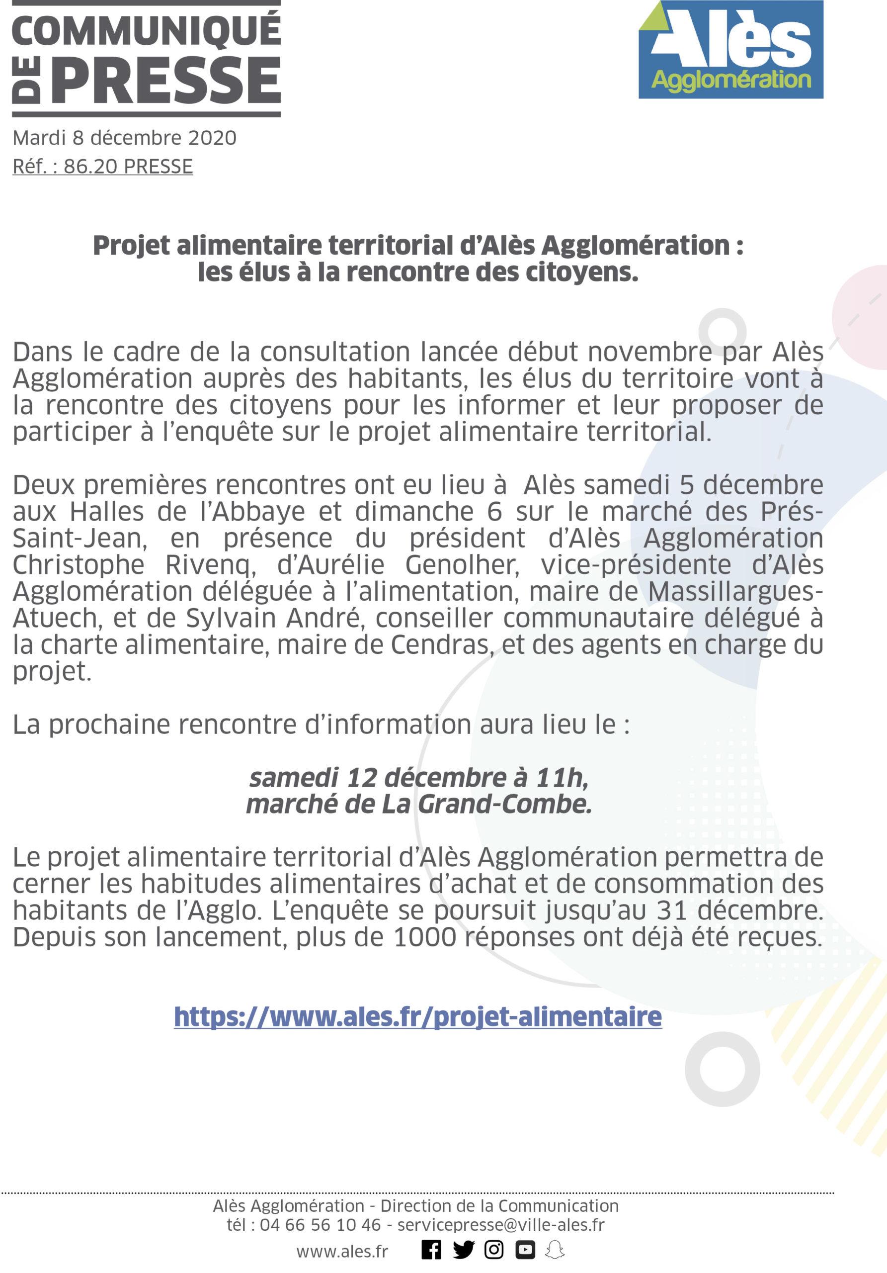 COMMUNIQUÉ DE PRESSE – Projet alimentaire territorial d'Alès Agglomération : les élus à la rencontre des citoyens.