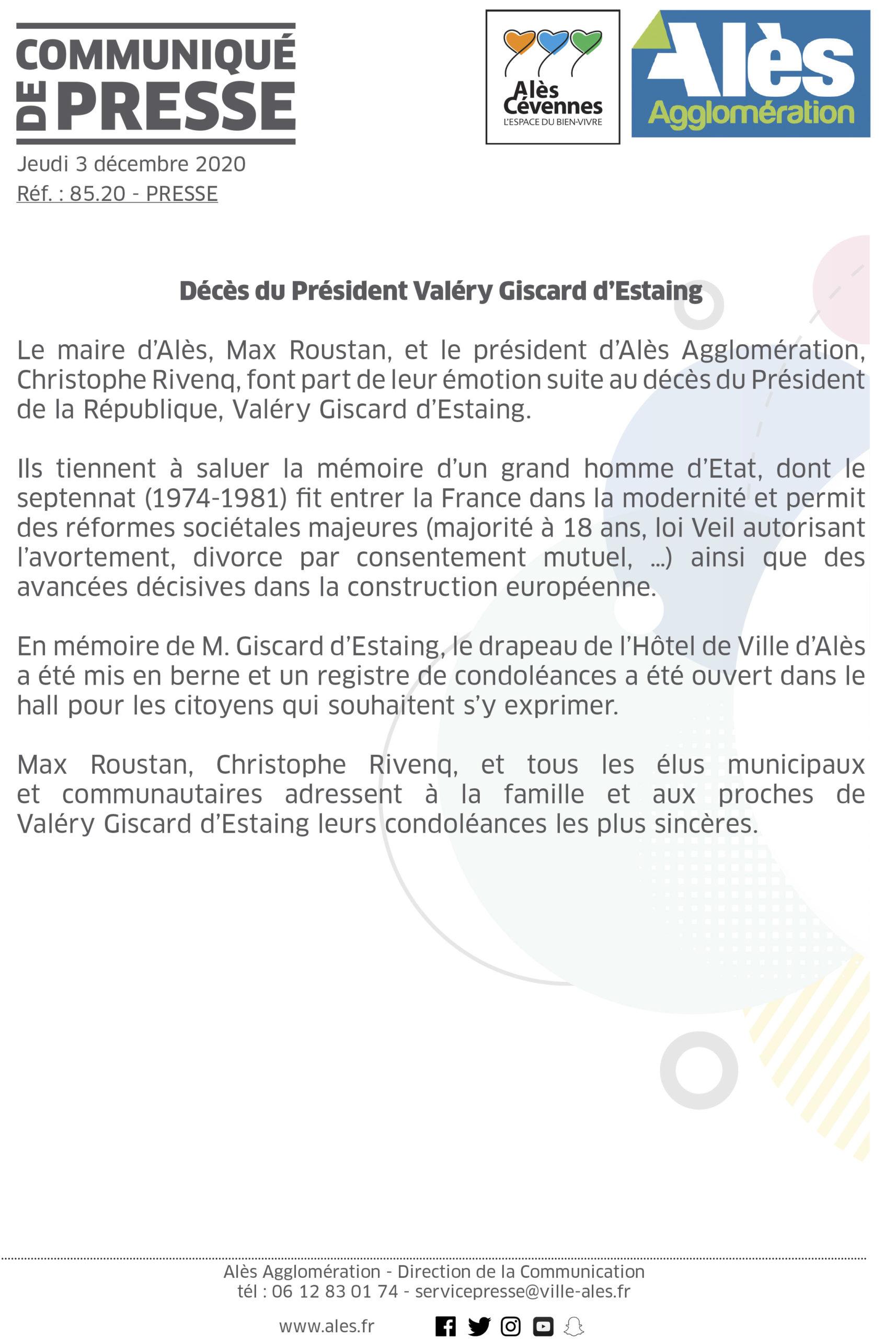 COMMUNIQUÉ DE PRESSE – Décès du Président Valérie Giscard d'Estaing