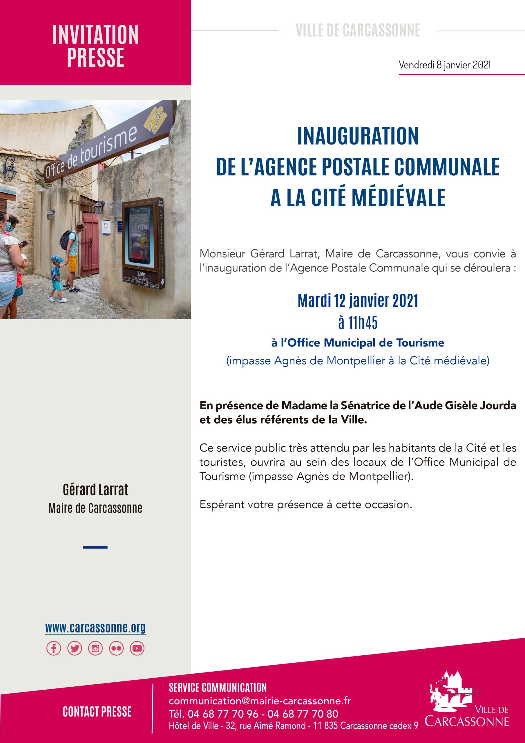 RAPPEL PRESSE / VILLE DE CARCASSONNE – Inauguration de l'agence postale à la Cité Médiévale