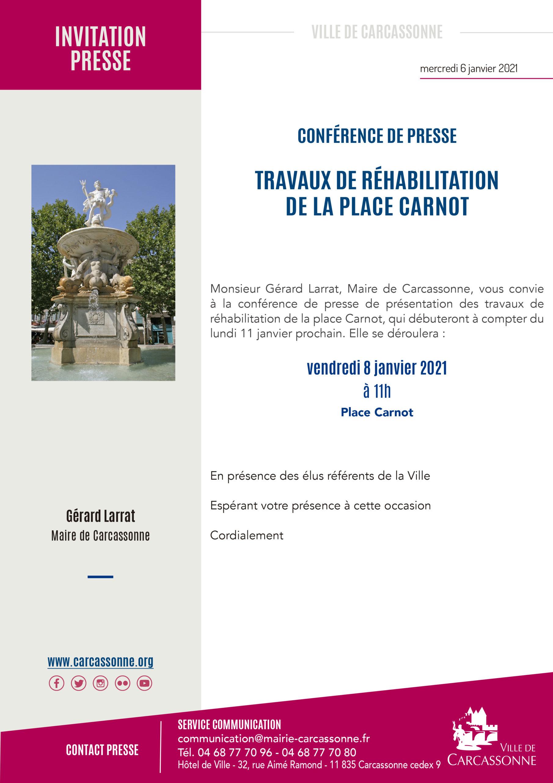 Conférence de presse présentation Travaux Place Carnot