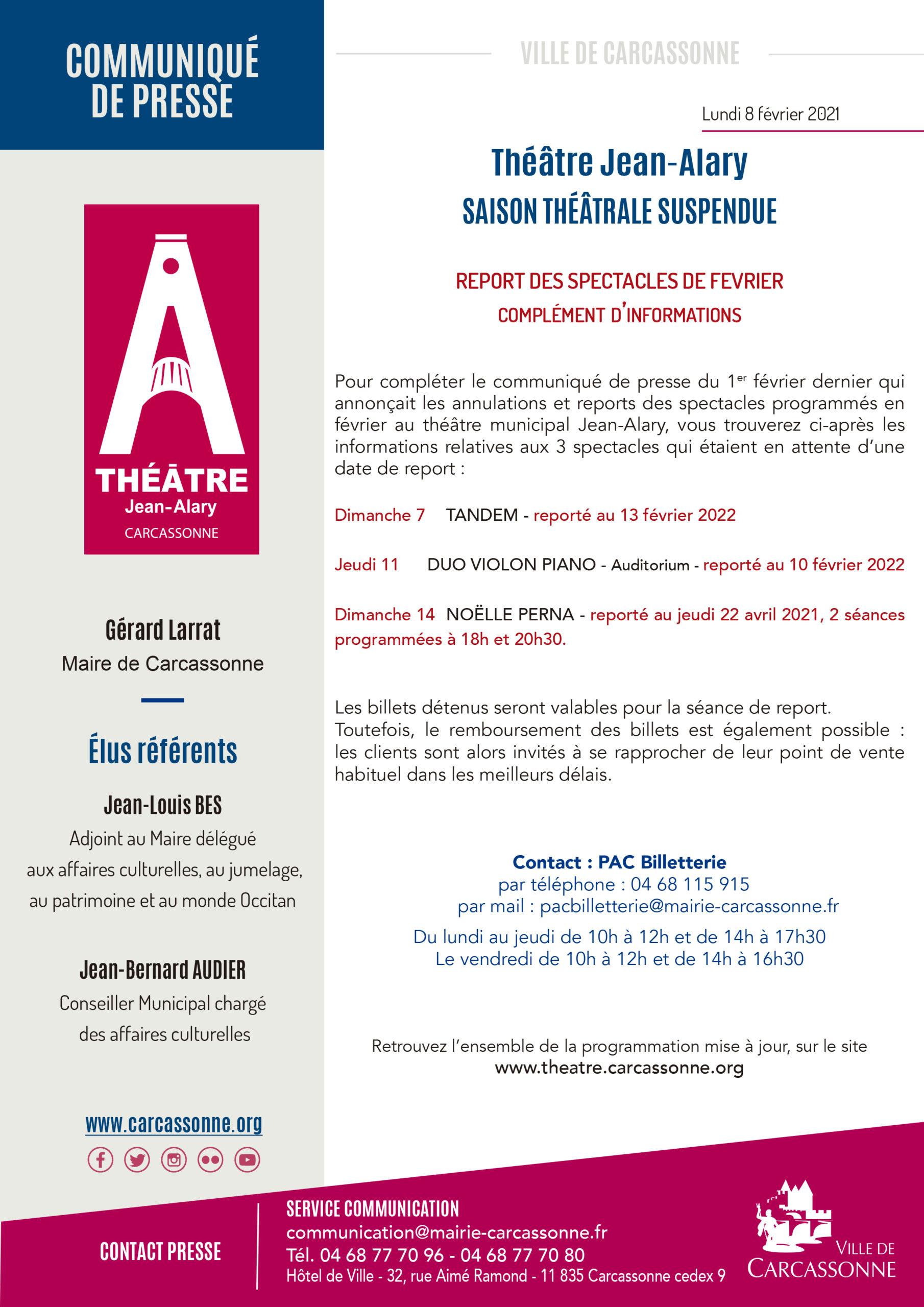 Théâtre Alary – spectacles reportés de février – complément d'information