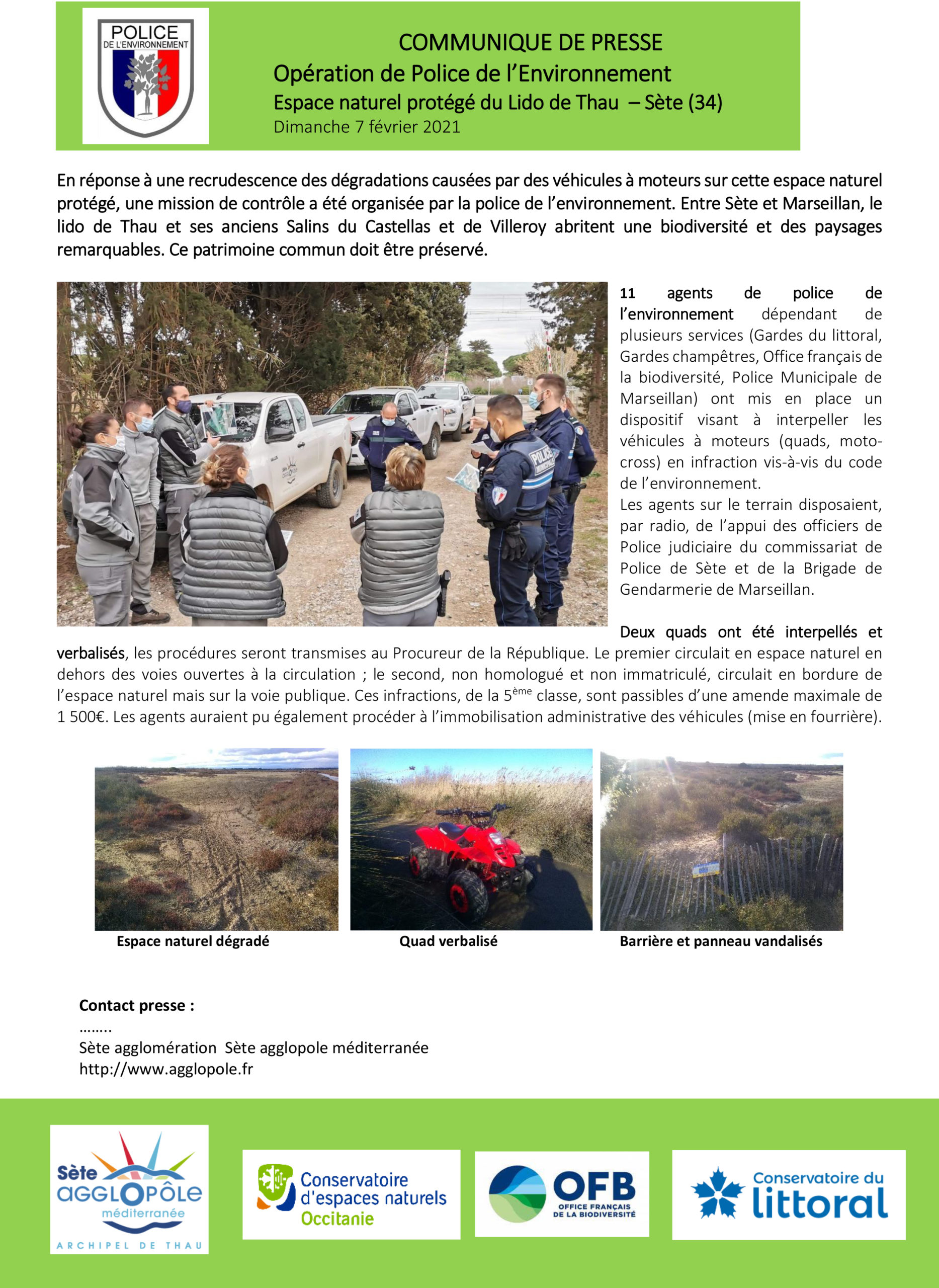 COMMUNIQUE DE PRESSE – Une opération commune de Police de l'environnement sur le lido de Thau
