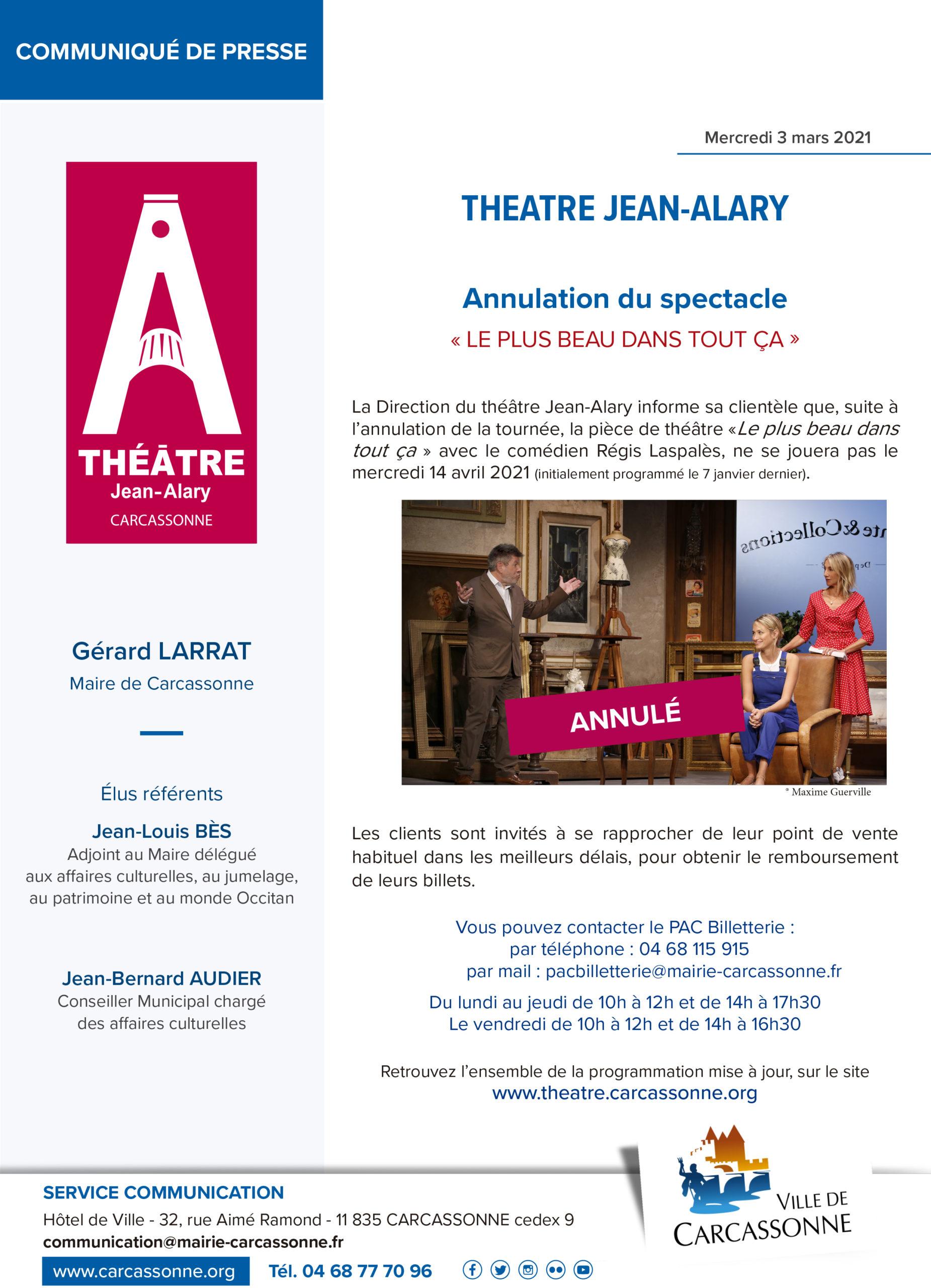 Communiqué de PRESSE : Théâtre Jean-Alary – Annulation pièce de théâtre