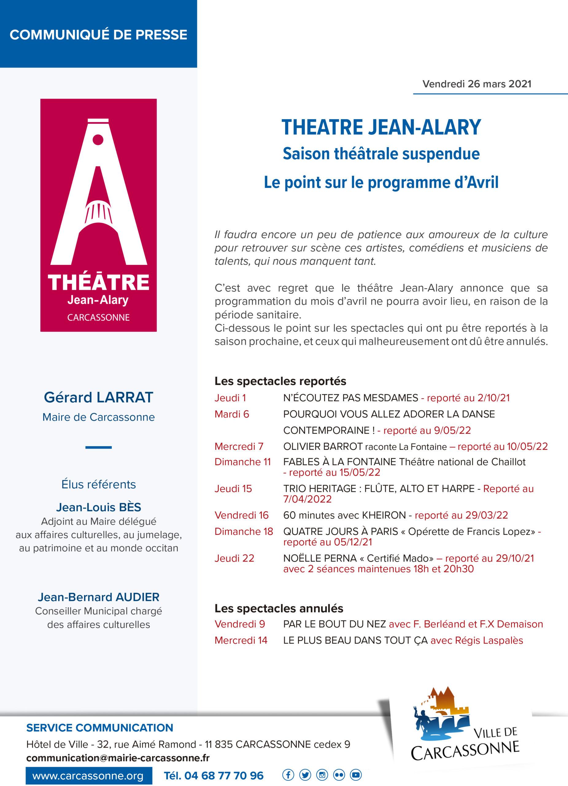 Communiqué de PRESSE : Le point sur les spectacles d'avril au théâtre Jean-Alary de Carcassonne